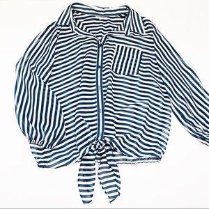 Pleione navy blue white striped sheer tie top XL